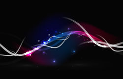 Glowing flowing waves and stars in dark space Royalty Free Stock Photo