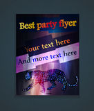 glowing flyer for a party with a leopard Stock Image