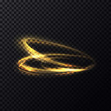 Glowing flying in rings particle with trail, tail. Glowing flying in rings particle with trail or tail. Luminous lines with swirl effect on transparent Stock Photo