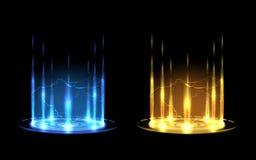 Glowing flying saucer vector illusrtation stock illustration