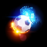 Glowing Football. With stadium lights and a crowd of people in the background.. Vector illustration Stock Photos