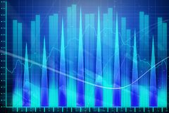 Glowing forex chart. Glowing blue forex chart background. Finance and investment concept. 3D Rendering Royalty Free Stock Photography