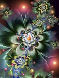 Glowing Fractal Flowers. With Mandelbrot Set Centres Royalty Free Stock Images