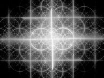 Glowing fractal texture black and white Stock Photography