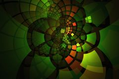 Glowing fractal tiles in contrasting greens and oranges curving out in layers Stock Photo