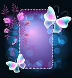 Glowing frame with butterflies and flowers. Glowing frame with transparent butterflies and floral ornament vector illustration