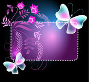 Glowing frame with butterflies and flowers. Glowing frame with transparent butterflies and floral ornament stock illustration