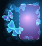 Glowing frame with butterflies Stock Photography