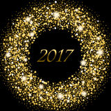 Glowing frame with golden sparkle stars. Splash of gold. Or glittering spangled banner in concept of New Year 2017. Shiny background with star dust splashes Stock Photo