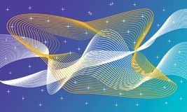 Glowing futuristic colourful lines in the dark space stock illustration