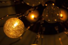 Glowing and fuzzy balls. Holiday decorations Stock Photo