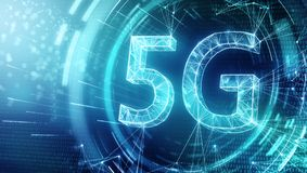 Glowing 5G backdrop stock illustration