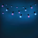 Glowing garland light bulbs. For a blue holiday background. Vector illustration Stock Photography