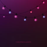 Glowing garland light bulbs Royalty Free Stock Images
