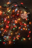 Glowing garland  and red glass. Glowing garland lights dark background wire Royalty Free Stock Image