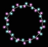 Glowing Garland With Small Lamps. Garlands Christmas Decorations Lights Effects. Xmas Holiday Greeting Card Design Stock Photography