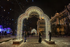Glowing gate - Christmas decorations in the Winter Palace Stock Photos