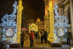 Glowing gate - Christmas decorations in the Winter Palace Royalty Free Stock Photography