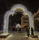 Glowing gate - Christmas decorations in the Winter Palace Stock Image