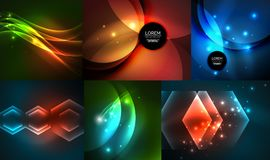 Glowing geometric shapes on dark abstract backgrounds. Vector digital technology illustrations set royalty free illustration