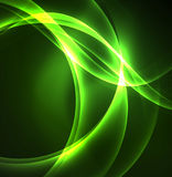 Glowing geometric shapes. In dark space background Royalty Free Stock Image