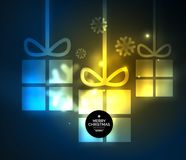 Glowing gift boxes with snowflakes, Christmas and New Year template. Vector illustration, winter holiday Christmas card with light effects Royalty Free Stock Photography