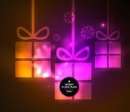 Glowing gift boxes with snowflakes, Christmas and New Year template. Vector illustration, winter holiday Christmas card with light effects Stock Image