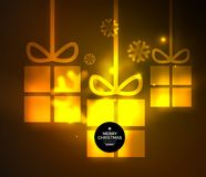 Glowing gift boxes with snowflakes, Christmas and New Year template. Vector illustration, winter holiday Christmas card with light effects stock illustration