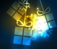 Glowing gift boxes with snowflakes, Christmas and New Year template. Vector illustration, winter holiday Christmas card with light effects Royalty Free Stock Photo