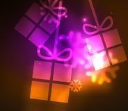 Glowing gift boxes with snowflakes, Christmas and New Year template Royalty Free Stock Image