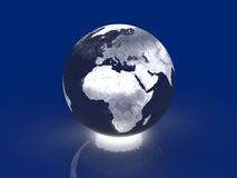 Glowing Globe - Europe, Africa. 3D rendered Illustration Royalty Free Stock Photo