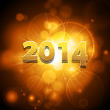 2014 glowing gold background. New Year 2014 Glowing Gold background Royalty Free Stock Photo