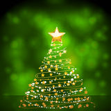 Glowing gold Christmas tree Stock Photo