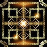 Glowing gold 3d greek vector seamless pattern. Geometric abstract ornamental modern background. Shiny geometry check ornaments with squares, frames, circles stock illustration