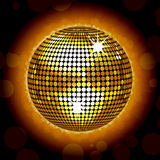 Glowing gold disco ball Stock Images
