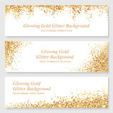 Glowing gold glitter header set. Bright glowing metallic texture. Glamour shining gold glitter banner design with sparkles for Christmas design Stock Image