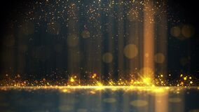 Gold particle glitter luxury background with light bokeh