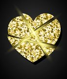Glowing golden broken heart Royalty Free Stock Photography