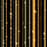 Glowing golden chains on black background. Stock Photography