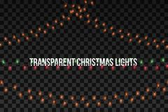 Glowing golden Christmas garlands. Party lights decorations isolated on transparent background. Vector illustration royalty free illustration