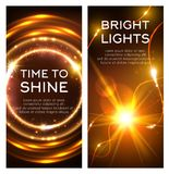 Glowing golden lights banner set design. Glowing golden lights banner set. Shining star or sun with bright beam and neon motion trail, glittering circle with vector illustration