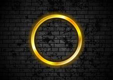 Glowing golden neon circle frame on brick wall. Glowing golden neon circle frame on black grunge brick wall. Vector design vector illustration