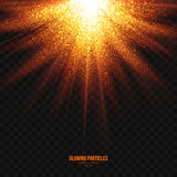 Glowing Golden Particles Explosion Effect Design Element. Abstract bright golden shimmer glowing particles transparent vector background. Scatter shining star Royalty Free Stock Photo
