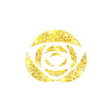 Glowing golden rose on background. Gold sparkles rose. Stock Photography