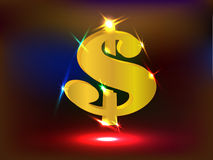 Glowing Golden US Dollar Sign with Spotlights. 3D gold US dollar sign with sparkles and neon spotlights vector illustration