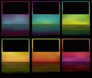 Glowing gradient mesh frames with reflections. Note: Gradient Meshes are used. This is a set of glowing colorful buttons on a black background with reflections stock illustration