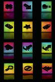 Glowing gradient mesh icon set. Note: Gradient Meshes are used. This is a set of glowing colorful gradient mesh squares with icons. Icons, main squares stock illustration