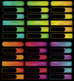 Glowing gradient spectrum buttons. Note: Gradient Meshes are used. This is a set of glowing colorful buttons on a black background. Cut out portions of buttons stock illustration