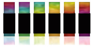 Glowing gradient tags. Note: Gradient Meshes are used. This is a set of glowing colorful buttons on a white background with flat black wrapping and reflections stock illustration
