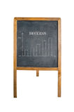 Glowing graph on chalk board with word success Stock Image